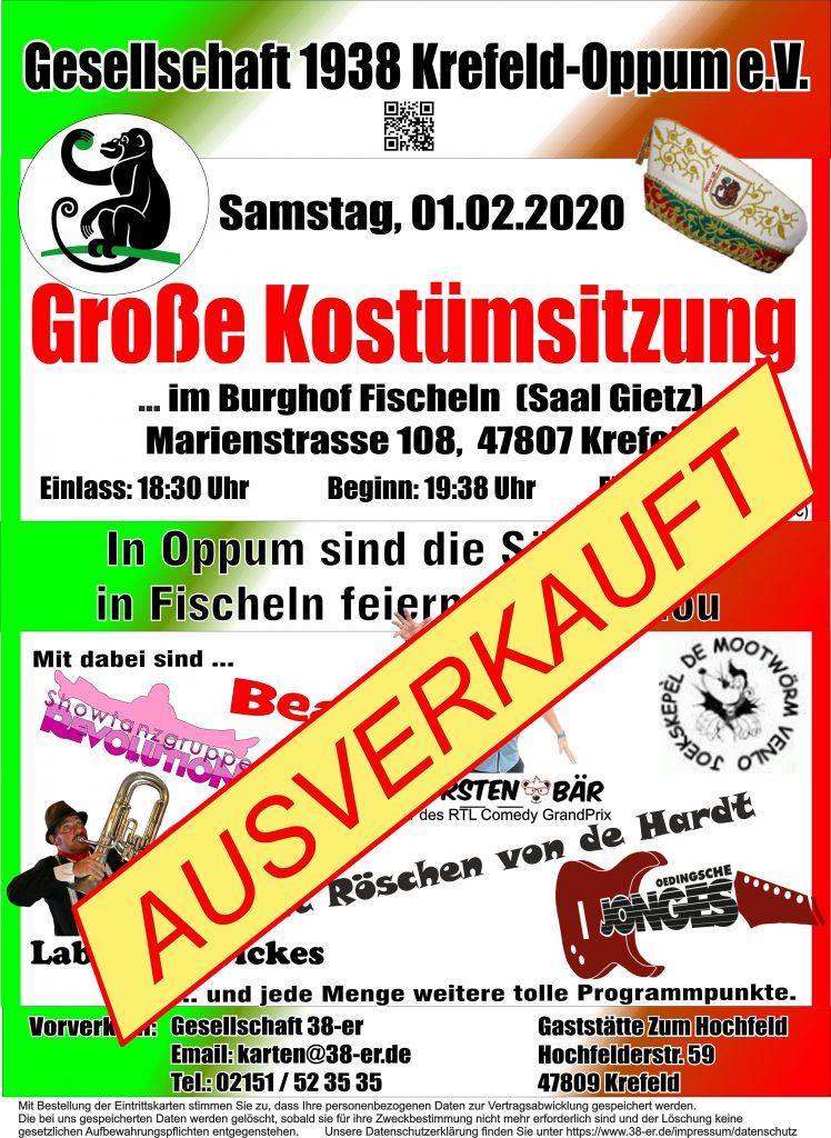 Plakat zu unserer Kostümsitzung 2020 im Fischelner Burghof. Die 38er feiern im ausverkauften Saal!