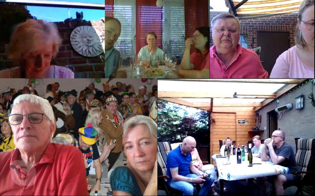 Die 38er sitzen virtuell beisammen bei der Skype-Weinprobe