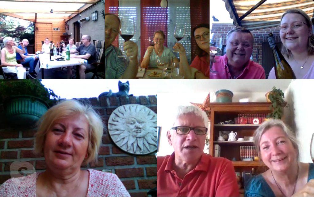 """Ein gemeinsames """"Zum Wohle"""" bei der Skype-Weinprobe der 38er"""