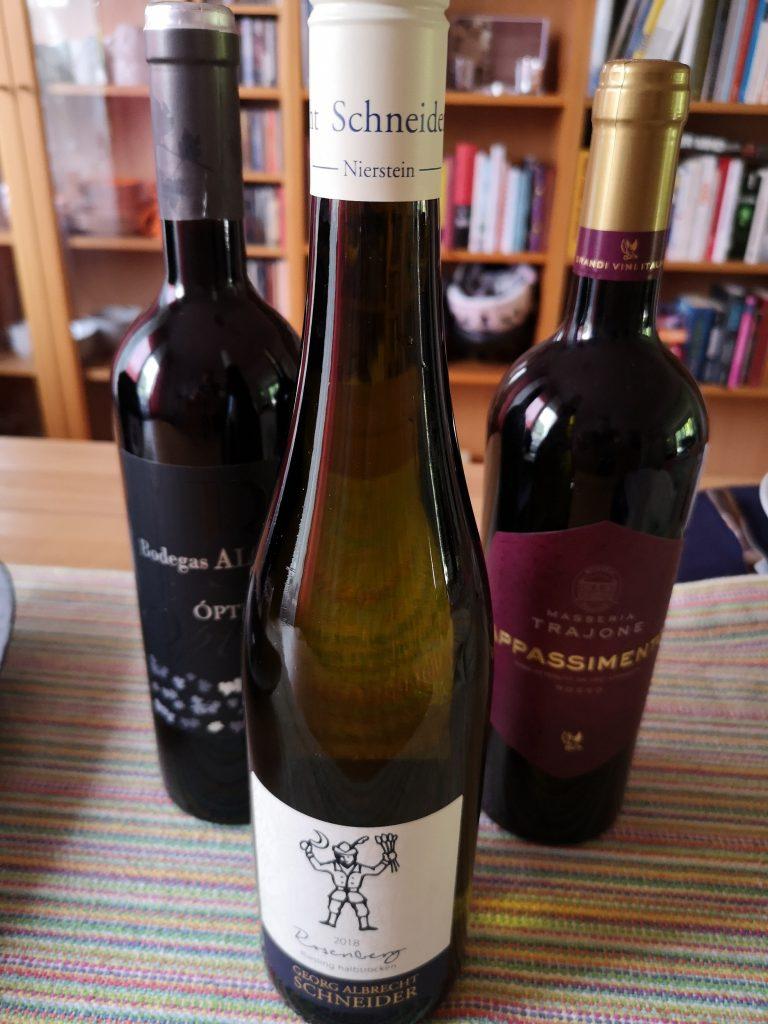 Auswahl der Weine für die Weinprobe der 38er