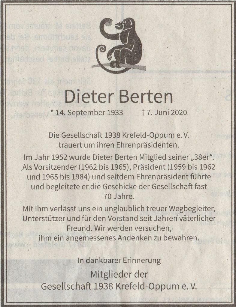 Die Anzeige für unseren Ehrenpräsidenten Dieter Berten.